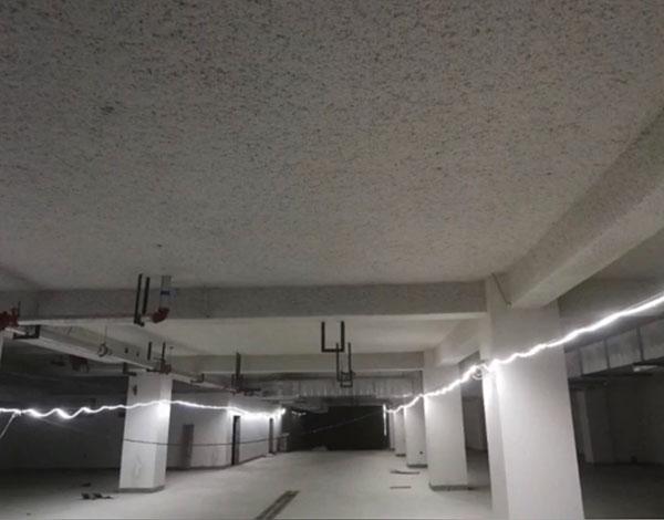 地下车库无机纤维喷涂效果