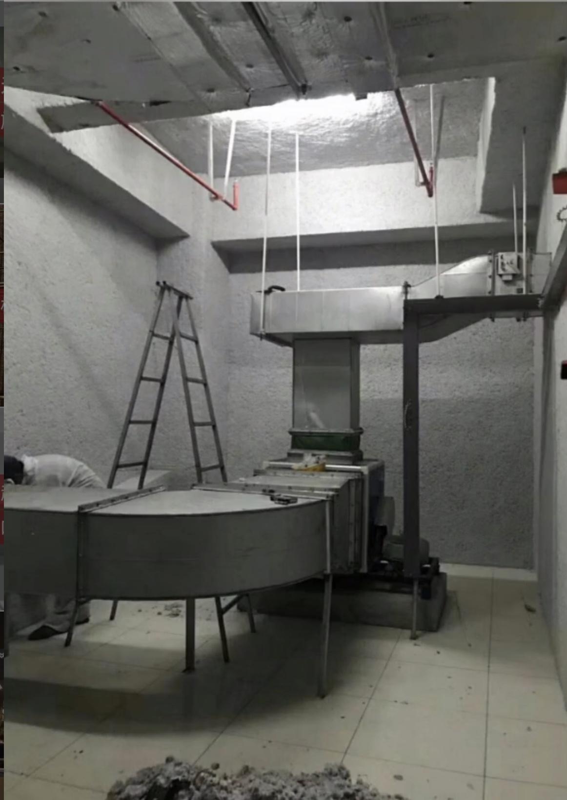 电梯井无机纤维喷涂效果